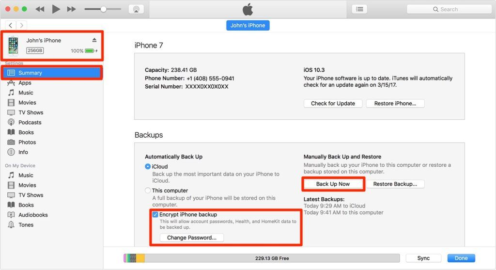 iPhone Backup iOS melalui iTunes