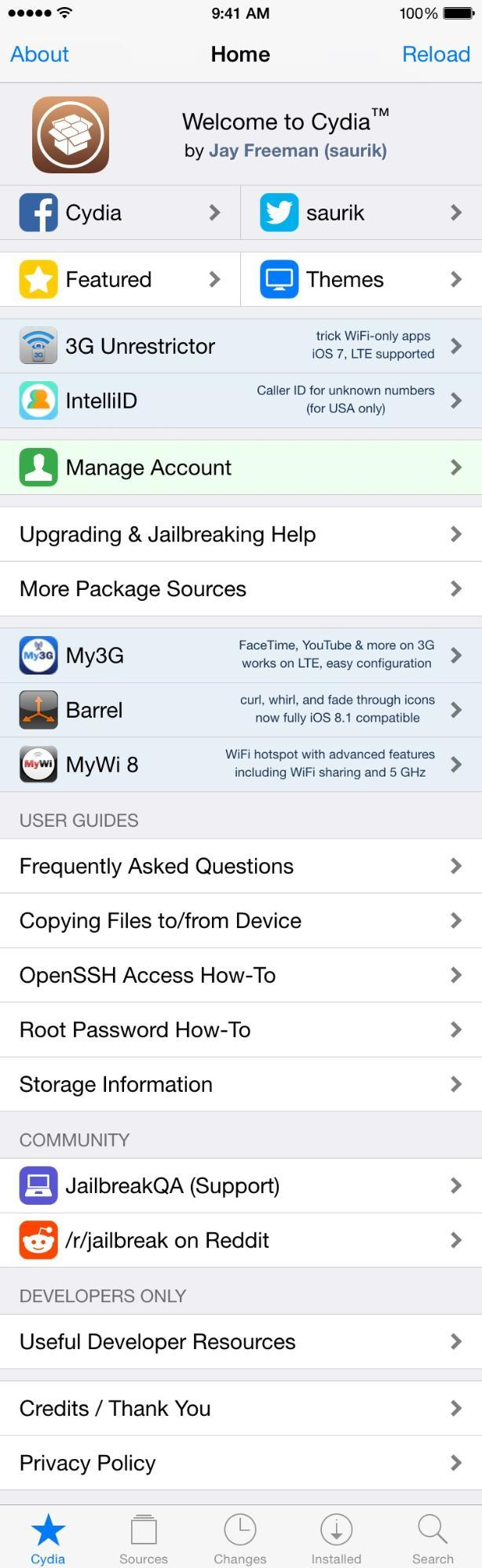 iPhone iOS Cydia