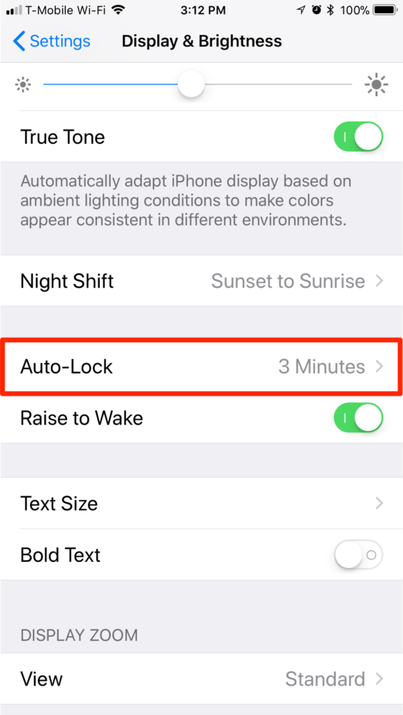 iPhone iOS 11 Auto-Lock