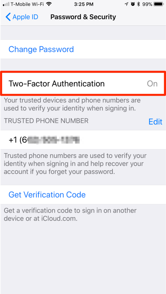 iPhone iOS 11 Settings Two Factor Authentication