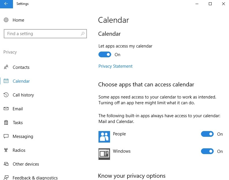 Impostazioni del calendario di Windows 10