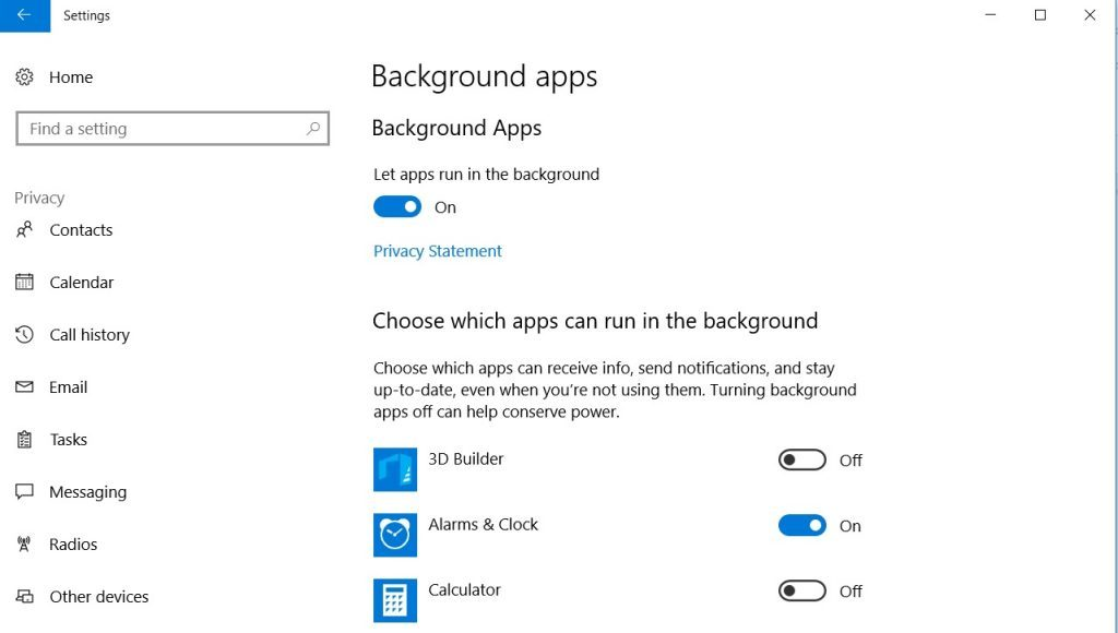 Impostazioni delle app in background di Windows 10
