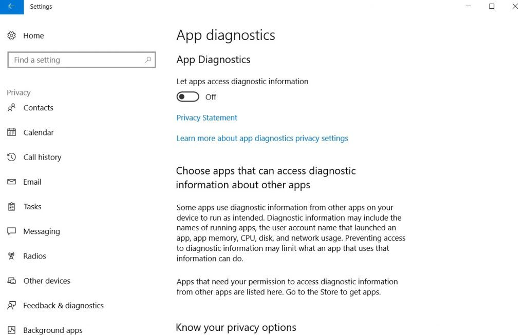 Impostazioni di diagnostica dell'app Windows 10