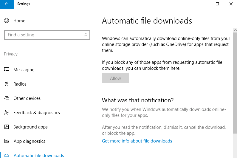 Download automatici di file di Windows 10