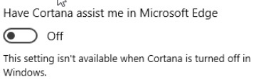 Windows 10 dispone di Cortana Assist Me in Microsoft Edge Setting