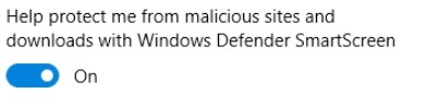 Impostazioni di Windows 10 Defender SmartScreen