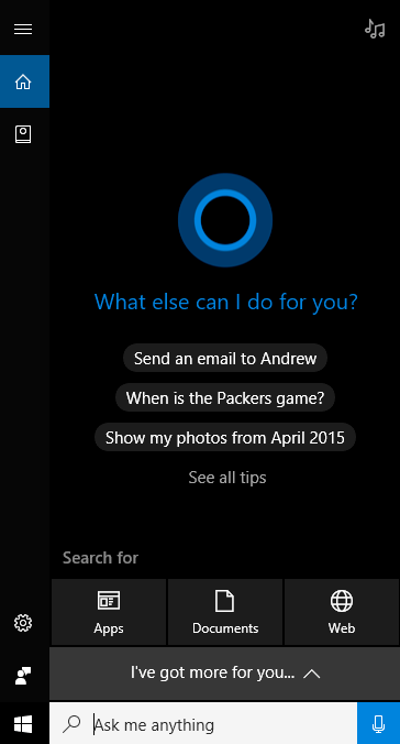 Aggiornamento Cortana Creator per Windows 10