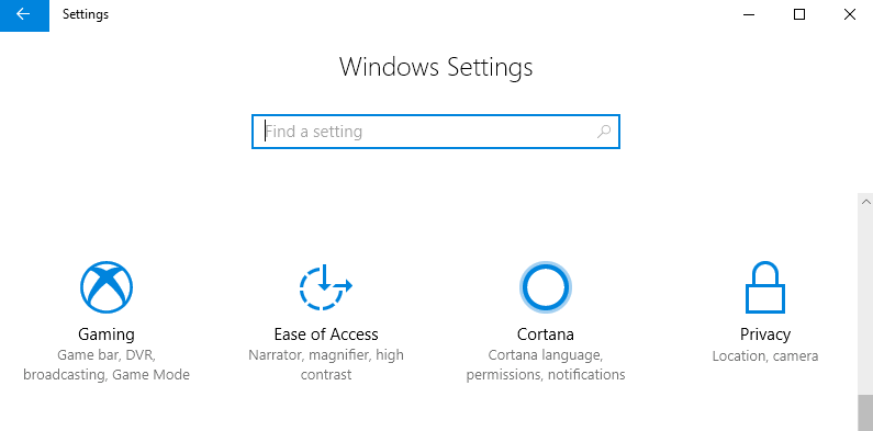 Windows 10 Fall Creator Update Cortana Settings
