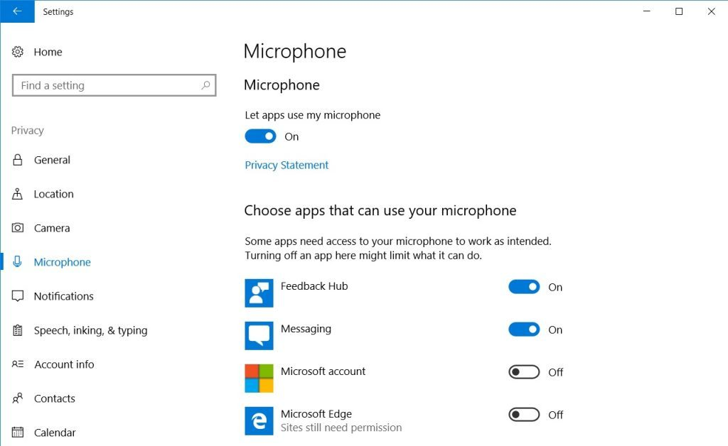 Windows 10 Microphome-innstillinger