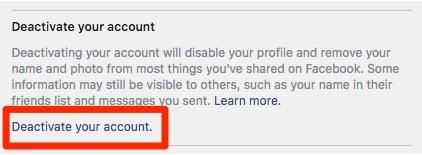 Facebook račun Deaktiviraj
