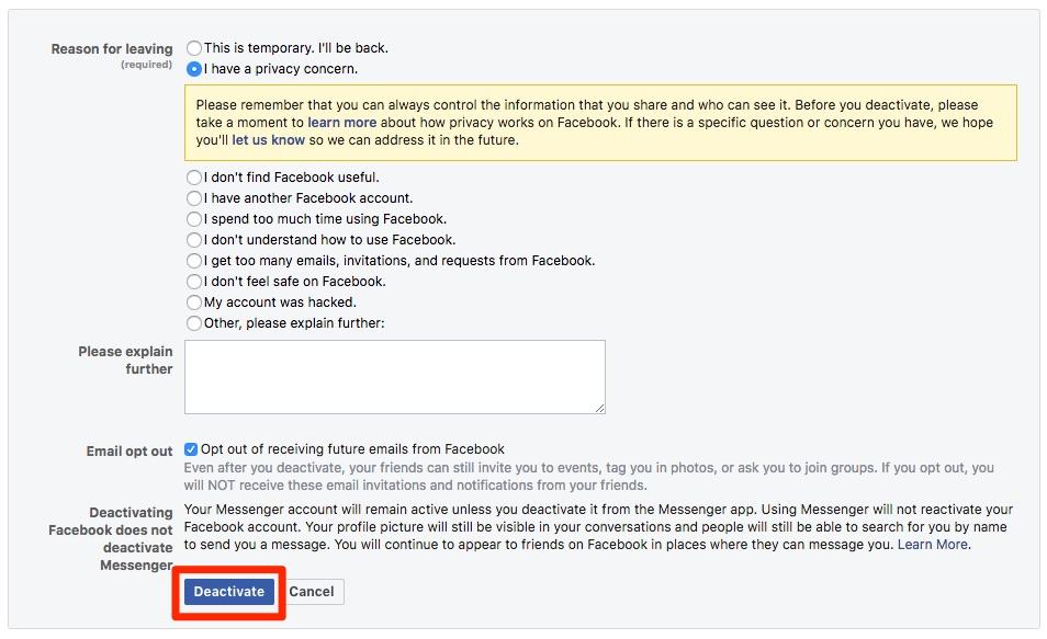 Deaktivacija računa na Facebooku