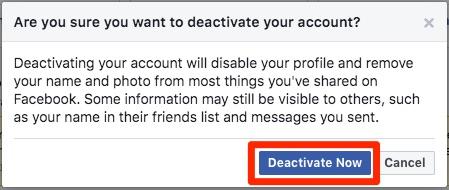 Facebook račun Deaktiviraj odmah