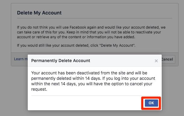 Facebook račun trajno izbrišite