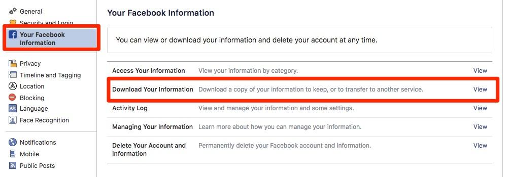 Preuzimanje podataka s Facebooka