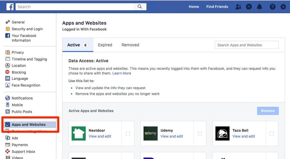 Facebook aplikacije i web stranice aktivne