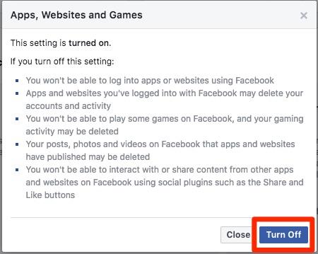 Isključite Facebook aplikacije, web stranice i igre