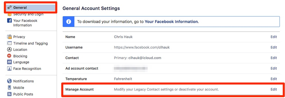 Facebook Upravljanje računom