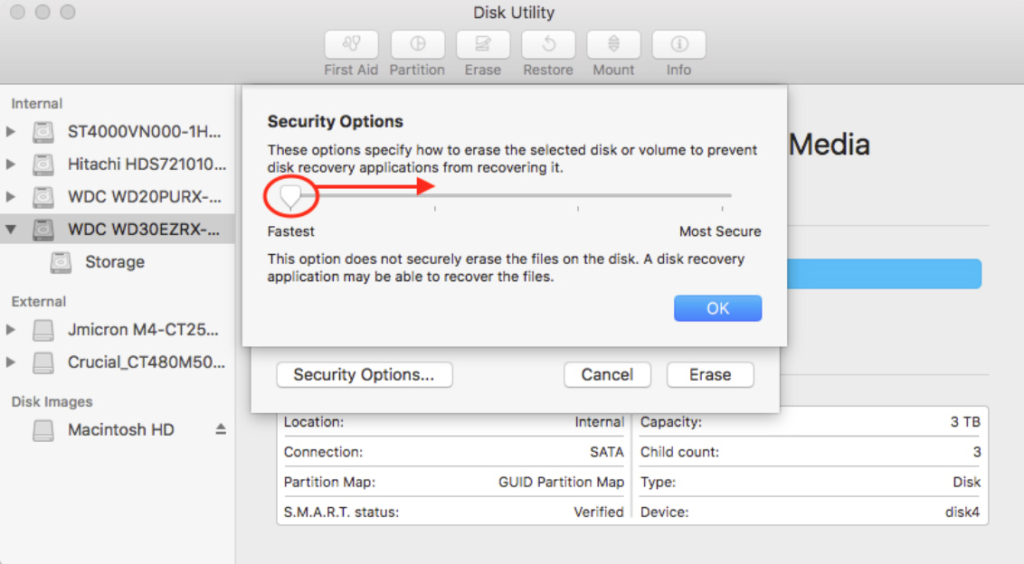 macOS Disk Security Options