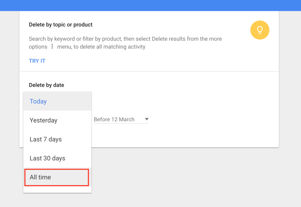 Google Delete All Time Activity