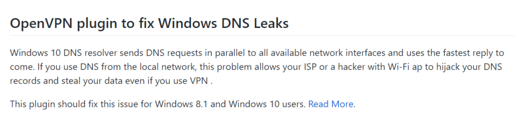 OpenVPN-plugin til at fastsætte Windows DNS-lækager